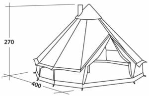 Drawing of klondike tent with pitched dimensions