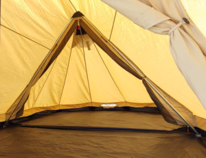 inside and bedroom area of trapper tent