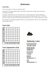 Battleships Printable Game