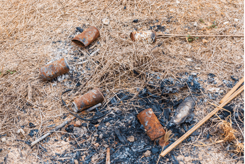 Fire damage and rubbish